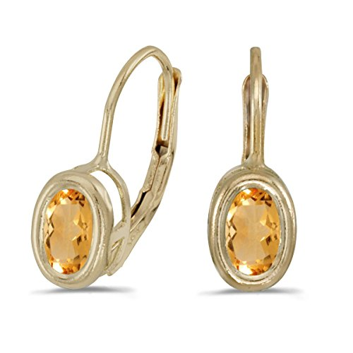 FB Jewels Solid 14k Yellow Gold Studs Genuine Birthstone Oval Citrine Bezel Lever-back Earrings (0.62 Cttw.)