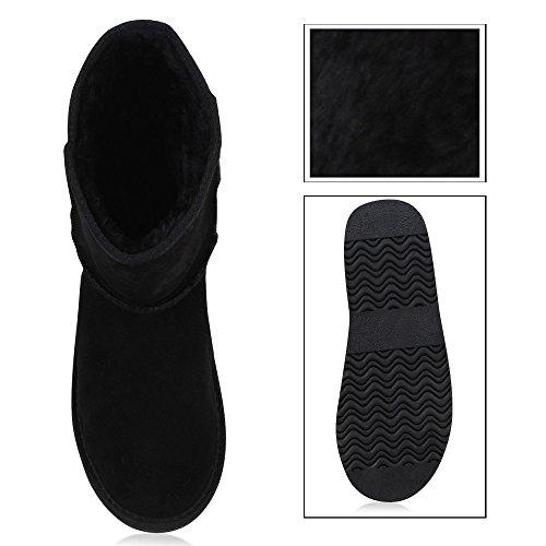 Damen Schlupfstiefel Warm Gefütterte Stiefel Leder Stiefeletten Wildleder-Optik Boots Profilsohle Schuhe Übergrößen Flandell Schwarz Total