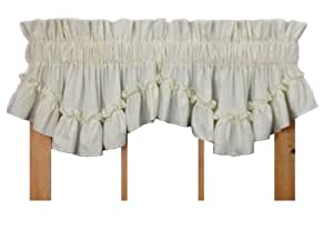 Stephanie Country Style Ruffle Shaped Valance Curtain - 3 Inch Rod Pocket, Natural