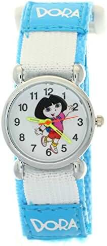 Dora the Explorer Kid Girls Boys Xmas Gift Blue Nylon Velcro Quartz Analog Lovely Cartoon WristWatch