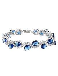 Ever Faith Silver-Tone Full Cubic Zirconia Oval Wedding Roman Tennis Bracelet