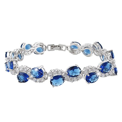 ever faith silver tone cz september birthstone elegant oval shaped roman tennis bracelet sapphire color - Color Contacts Amazon