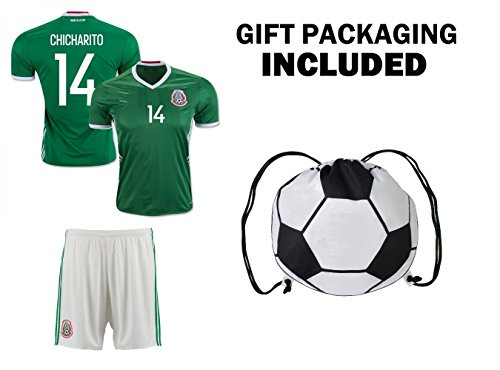 Fan Kitbag Chicharito #14 Mexico Youth Home / Away Soccer Jersey & Shorts Kids Premium Gift Kitbag ✮ BONUS Soccer Ball Drawstring Backpack (Youth XSmall 4-6 Years, Home Short Sleeve) (England Home Long Sleeve Jersey)