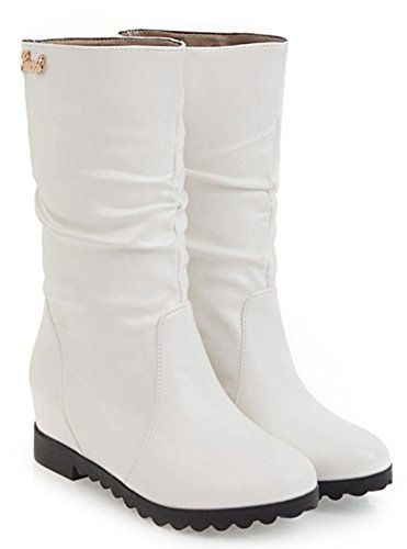 Heel Dress On Boots White Elevator Womens Toe Round Mid Mid Aisun Comfort Pull Slouch Calf wxFX0qzp