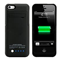 Fashion 2200mah Slim External Battery Backup Charger Case Pack Power Bank for Iphone 5c 5s 5g with Pop-out Kickstand (Black)