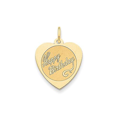 Best Designer Jewelry 14k Happy Birthday Heart Disc Charm 14k Happy Birthday Disc