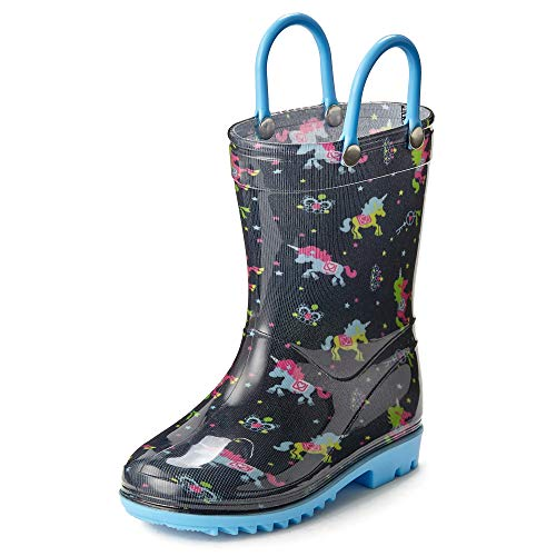 Puddle Play Toddler and Kids Waterproof Design Rain Boots with Easy-On Handles - Unicorns GNR87523 - Size 8 Toddler