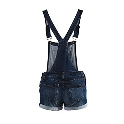 ZIMEGO Juniors Ripped Distressed Skinny Stretch Denim Overall Jumpsuit Shorts: Clothing