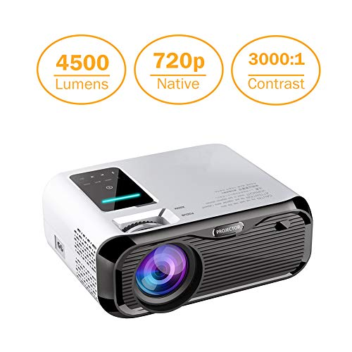 Projector Mini LED Video Projector Home Theater Supporting 1080P Compatible with HDMI/USB/TF Card/VGA/AV and Smartphone (E500-Basic)