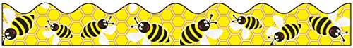 Pacon Bordette Designs Decorative Border, 2 1/4-Inch x 25-Feet, Bee Dazzle, Yellow/Black/White, 1 Roll (0037750)