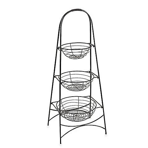 Maison 3-Tier Spa Bath Basket l 14.25'' L x 17.75'' W x 45'' H l Antique Black l Sturdy Iron Frame