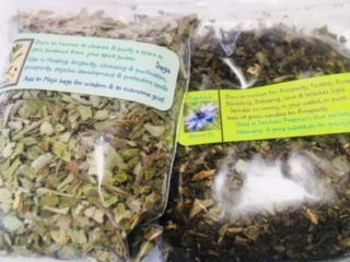 Patchouli Leaves - Herbs for Incense: Patchouli and Sage ~ 1/2 oz ea ~ Prosperity ~ Protection ~ Wicca ~ Ravenz Roost Herbs with Special Info on Labels