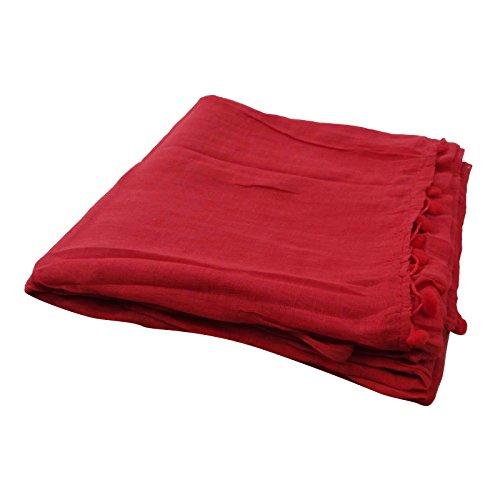 Dupatta cotone Frange Sciarpe Sciarpa rosso Hijab Testa avvolgere Stola Chunni in nappa Zq4zfA