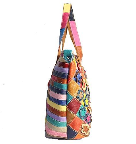 Moonsister Mode Damen Echts Leder Umhängetasche, Bunt Broschierung Blumen Schultertasche Einkaufen Freizeit Handtasche
