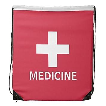 Viewing Gym Bag Medicine First Aid Symbol Red Medical Kit Drawstring