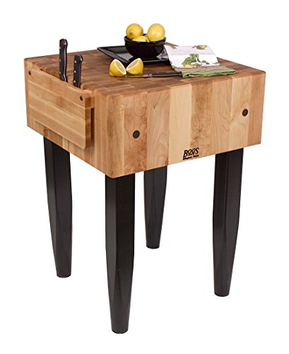 (Pro Chef Prep Table with Butcher Block Top Casters: Not Included, Size: 30
