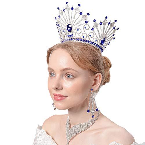 Santfe 5'' Tall Elegant Multi-Colored Crystal Rhinestone Royal Princess Wedding Bridal Pageant Prom Tiara Crown Girl Women Tiaras Crowns Matching Earring Set (silver blue) -