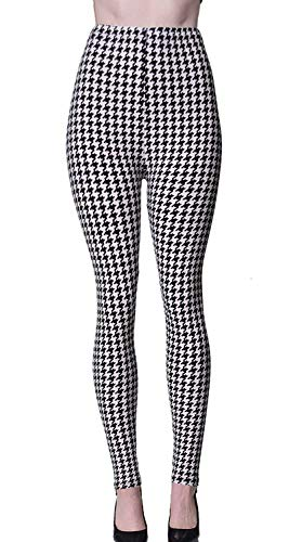 VIV Collection Plus Size Printed Brushed Ultra Soft Christmas Leggings (White Houndstooth)