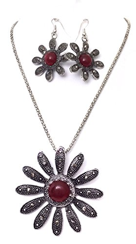 Red Center Daisy Flower Hematite Look Silver Tone Necklace Earrings -