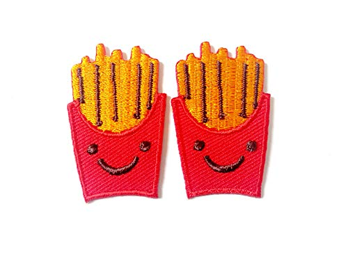 Tyga_Thai Brand Set 2 pcs. Mini French Fries Fast Food Cute Cartoon Logo Jacket T-Shirt Sew Iron on Embroidered Applique Badge Sign Patch (Iron-French-Fries-Mini)