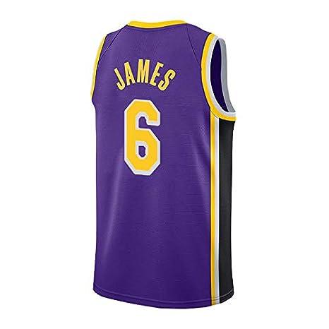 runvian Camiseta de Baloncesto para Hombre, NBA Lakers #6 ...