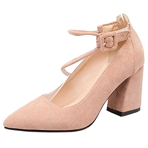 High Shoes Court Pink Women s Toe TAOFFEN Heel Pointed vxwtYUqX 728de13e3936