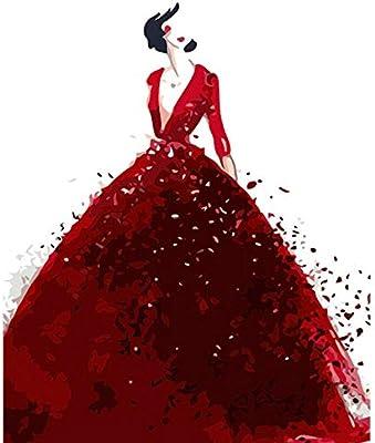rkmaster-Digital Pintura Hecha a Mano Abstracta Falda roja Figura ...