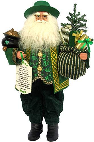 Santa s Workshop Irish Claus Figurine, 18 Tall, Green