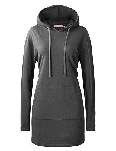 (Regna X Love Coated Women's Crewneck Tunic Sweatshirt Hoodie Grey Large)