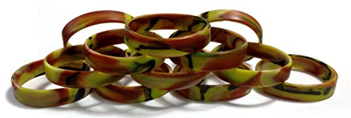 TheAwristocrat 1 Dozen Multi-Pack Forest Camo Wristbands Bracelets Silicone Rubber - Select from a Variety of Colors (Forest Camo, Youth (7