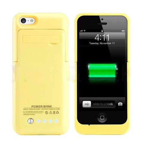 iPhone 5 5C 5S External Battery Case MUZE Chargeable Phone Case 2200mah External Backup Portable Battery Extended Case Battery Pack Case(Ios 7 or Above Compatible) + Lightning Charging Port + Built-in Viewing Stand + Slim Fit Slider Design + Full Body Protection + On/off Switch LED Battery Level Indicator Gift Box (Yellow/1pcs)