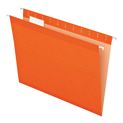 Pendaflex Reinforced Hanging File Folders, Letter Size, Orange, 1/5 Cut, 25/BX (4152 1/5 ORA) -