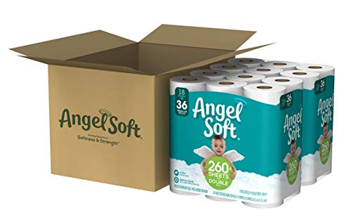 Angel Soft 2-Ply Toilet Paper, 264 Sheets Per Roll, Case of 36 Double Rolls