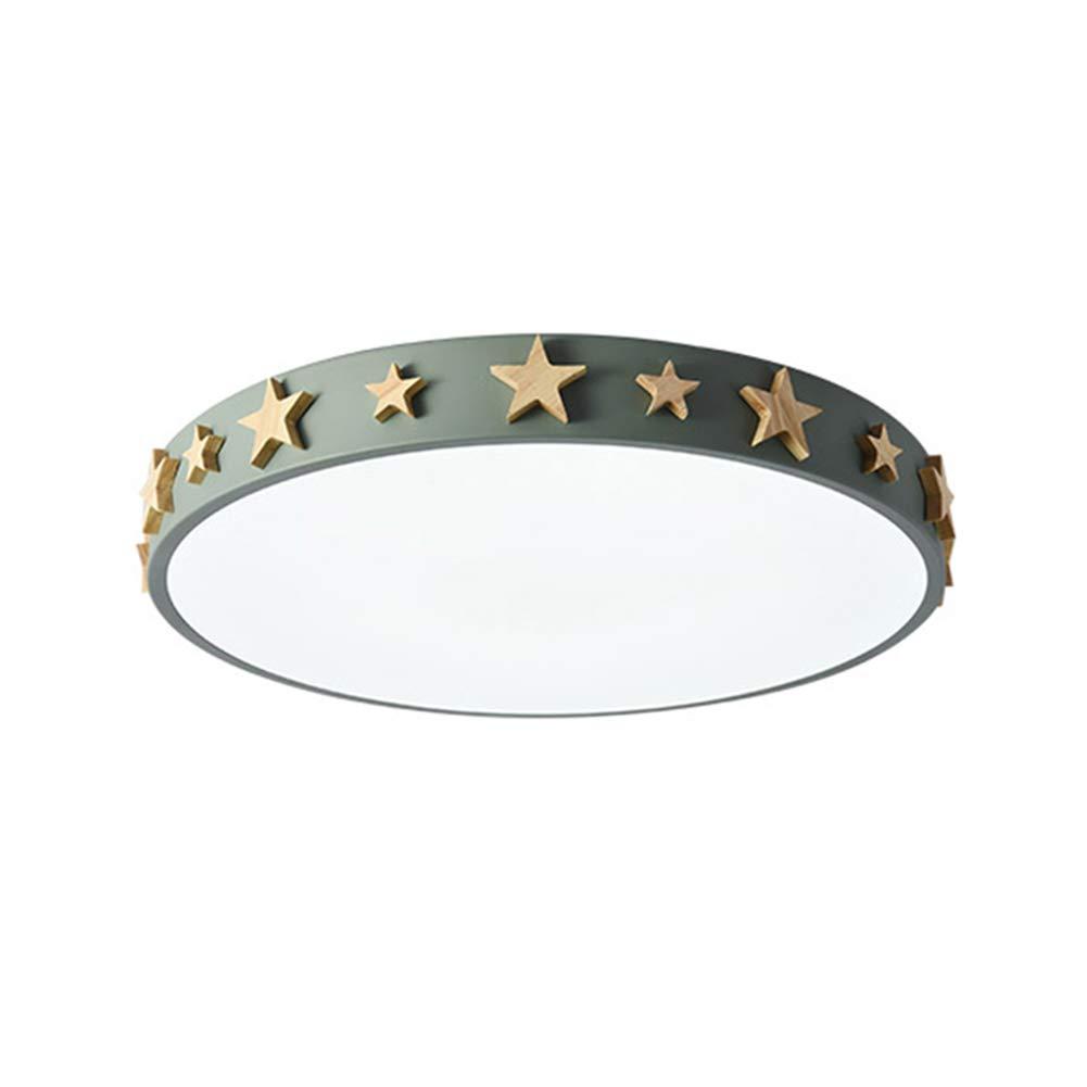 VinDeng Runde LED Ultradünn Deckenleuchte, 24w 16 zoll Holz Star Dekoration Deckenlampe Mit Acryl Für Schlafzimmer Kinderzimmer-grün Warmes Weiß