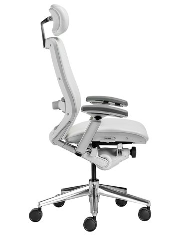 - Nightingale IC2 Designer LEATHER Office Chair 7300D in White Frame w/ Headrest