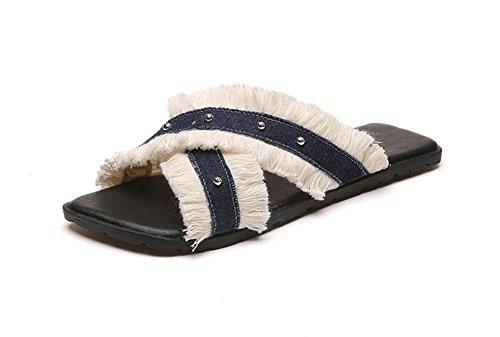 Segeltuchschuhe Frauen Quaste Sandalen und Pantoffeln Wort ziehen quadratischen Kopf flache Schuhe im Freien Blue