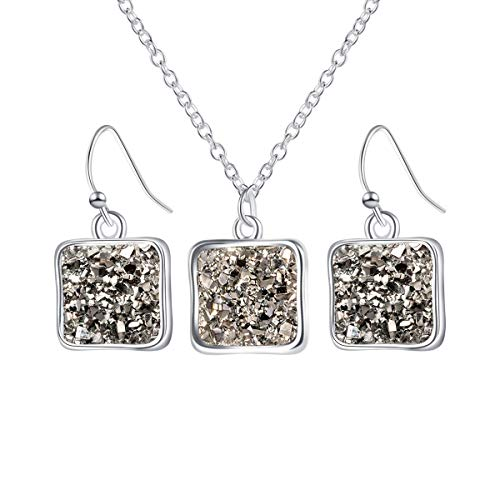MissNity Chic Simulated Druzy Jewelry Set for Girls Womens Silver Tone Plated Pendant Necklaces and Drop Earrings ()