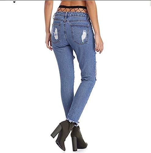 Malla Agujeros Recto Vaqueros Pantalones Estiramiento Tubo del DAMENGXIANG Blue Ajustados Femeninos Borde vYwxzq
