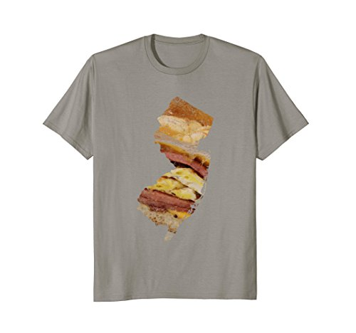 Mens New Jersey State Pork Roll Bagel Shirt Distressed Foodie Egg XL Slate
