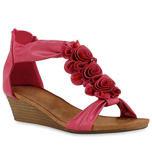 Stiefelparadies Damen Keilabsatz Sandalen Riemchensandalen Strass Sandaletten Wedges Glitzer Blumen Metallic Flats Sommerschuhe Flandell Pink Cabanas