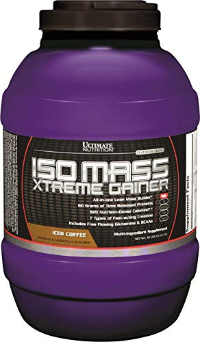 Bodybuilding Gainers Weight - Ultimate Nutrition ISO Mass Xtreme Weight Gainer Protein Isolate Powder with Creatine - Gain Serious Lean Muscle Mass Fast with 60 Grams of Protein, Iced Coffee, 30 Servings
