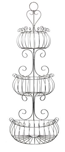 JMiles UH-WB231-SLV Three Tier Decorative Chrome Wire Basket - Freestanding or Hanging Wire Basket for Fruits and Veggies, Restroom Organization, and More