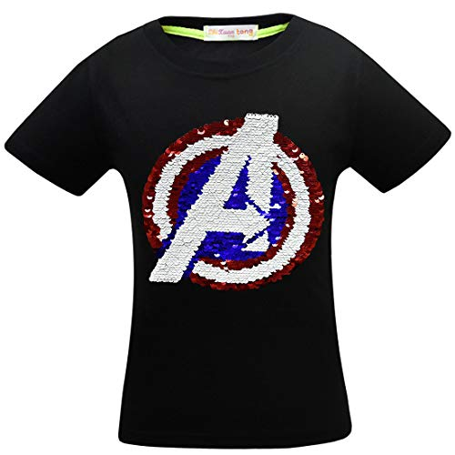 Boy Girls Avengers Children's Reflective Sequins T-Shirt Magic Short Sleeve Tops 3-14 Years Old (10-12 Years, 1SYAH) -