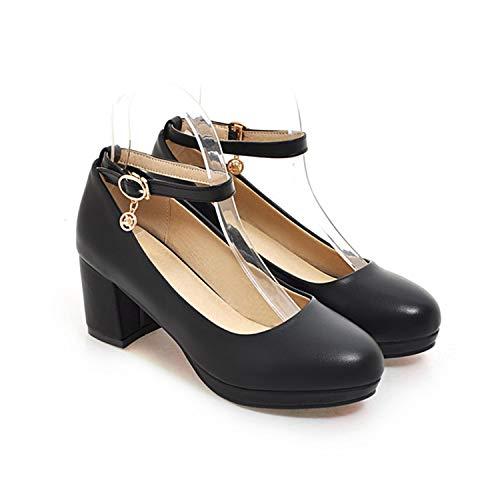 ZXCVB& Women Heels Shoes Platform Shoes Buckle Women Black Shoes Autumn Casual Thick Heel Ladies Office Pumps Large Size 33-43 Black 10.5