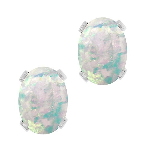 2.10 Ct Oval Cabochon 8x6mm White Simulated Opal - Natural Opal Earrings Stud
