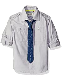 Boys Solid Button Up Woven with Military Details and Printed Arrow Tie
