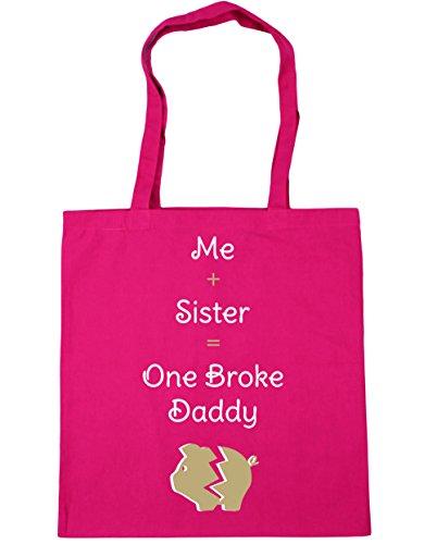 HippoWarehouse me + hermana = One Broke Daddy Tote Compras Bolsa de playa 42cm x38cm, 10litros fucsia