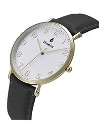 Fendior Waterproof Unisex Black Leather Band Slim Gold Easy to Read Quartz Dress Watches