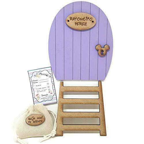Puerta morada Ratoncito Pérez, con escalera, saquito para el diente y certificado. Producto artesanal hecho en España