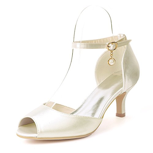 SHOELIN Peep Toe Mid Heels Ankle Strap Pearl Satin Evening Prom Sandals Wedding Shoes Ivory